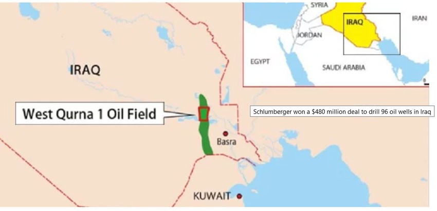 Schlumberger won a $480 million deal to drill 96 oil wells in Iraq